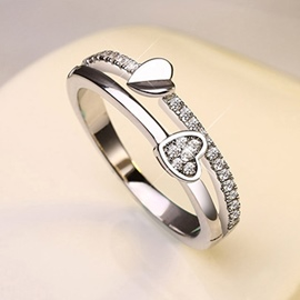 Cute Heart Decorated Alloy Female Ring