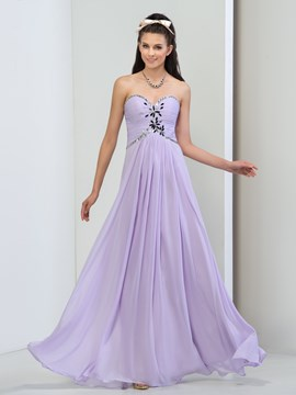 Ericdress A-Line Sweetheart Pleats Beaded Long Prom Dress