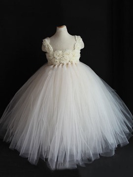 Ericdress Ball Gown Hollow Sleeveless Straps Flower Girl Dress