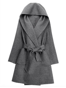 Ericdress Plain Mid-Length Hooded Cape Coat