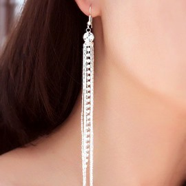 Shining Zircon-studded Long Tassel Earring
