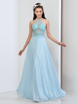 Ericdress Halter Appliques Sequins Backless Prom Dress