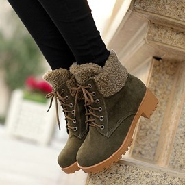 Ericdress All-matched Furry Lace-up Ankle Boots