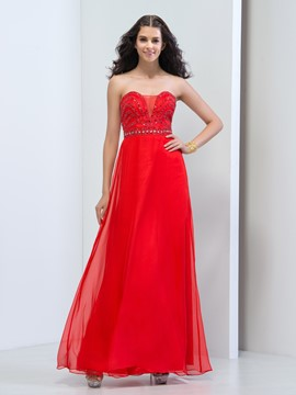 Ericdress A-Line Sweetheart Beaded Zipper-Up Prom Dress