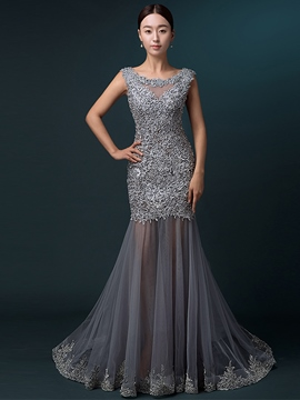 Ericdress Scoop Appliques Court Train Evening Dress