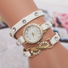 Concise Crystal Decorated Leather Strap Watch
