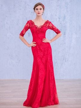 Ericdress V-Neck Half Sleeve Lace Long Evening Dress