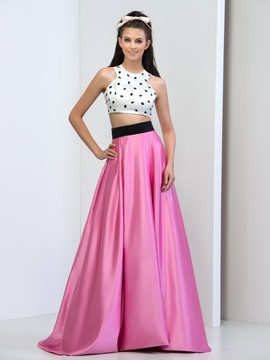 Ericdress Jewel Neck Beaded Two-Piece Prom Dress