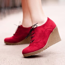 Ericdress Chic Lace-up Wedge Heel Ankle Boots