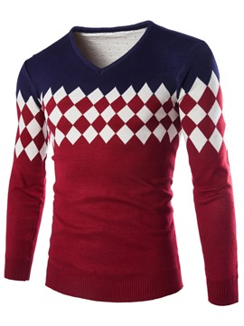 Ericdress Color Block Diamonds Decorated Men's Sweater