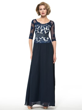 Ericdress Elegant Scoop Appliwues Half Sleeves A Line Long Mother of the Bride Dress
