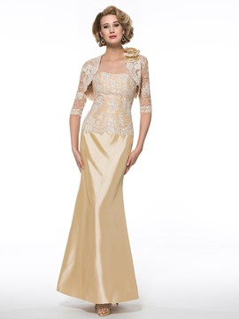 Ericdress Elegant Strapless Lace Mother of the Bride Dress with Jacket