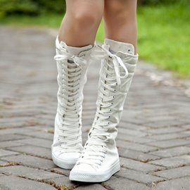 Ericdress Korean Canvas Lace-up Knee High Boots