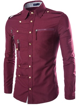 Ericdress Long Sleeve Unique Zip Design Men's Shirt
