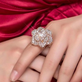 Ericdress Shiny Diamante Flower Open Ring