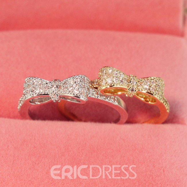 Concise Bowknot Decorated Alloy Ring