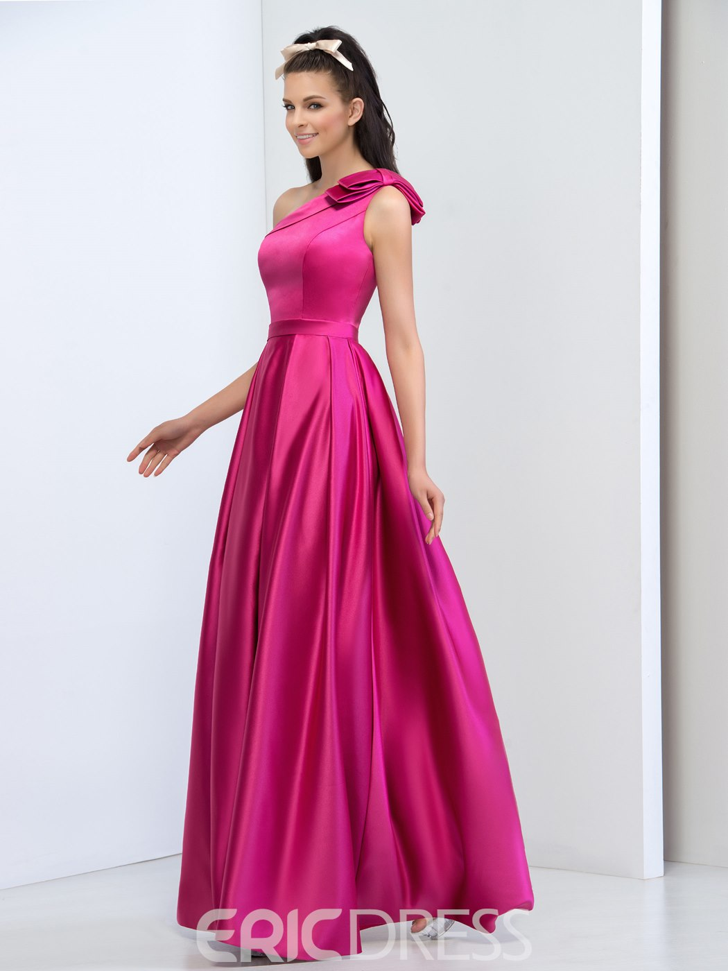 Ericdress A-Line One-Shoulder Ruches Long Prom Dress