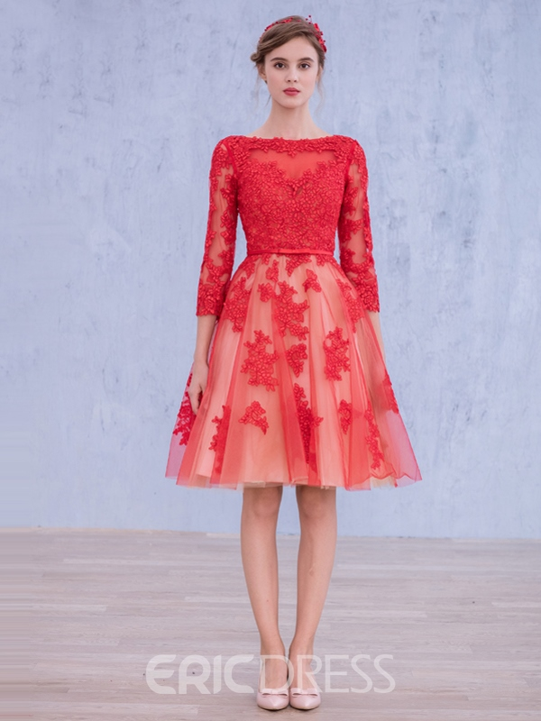 Ericdress 3/4 Long Sleeve Lace Knee-Length Cocktail Dress 11460642 ...