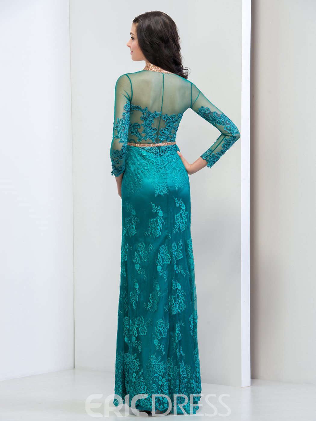Ericdress Long Sleeve Lace Front-Split Evening Dress