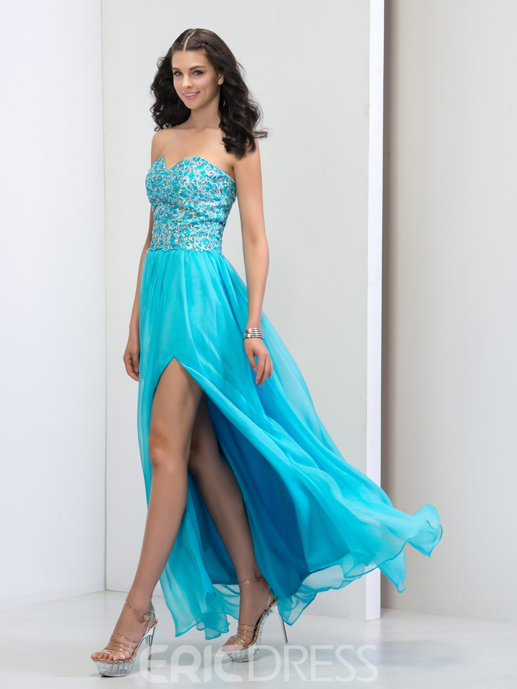 Ericdress Sweetheart Side-Split Appliques Beaded Prom Dress