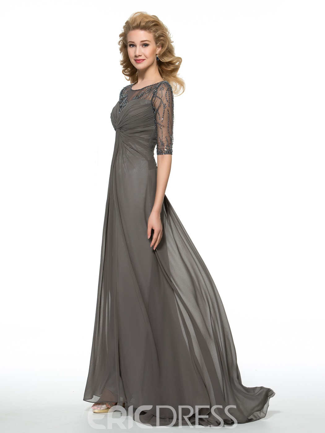 Ericdress Sheath Long Bateau Half Sleeves Mother of the Bride Dress