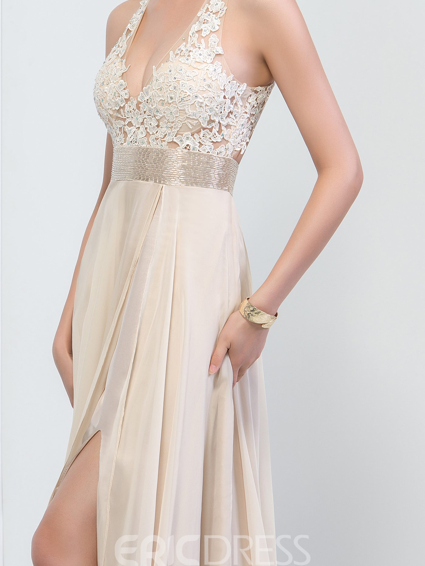 Ericdress V-Neck Beaded Ribbon Side-Split Prom Dress