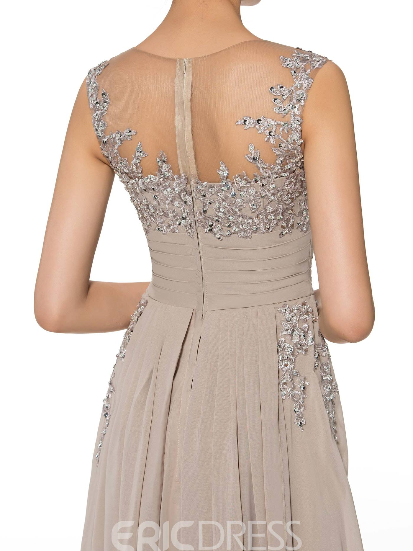 Ericdress A Line Long Jewel Beading Appliques Mother of the Bride Dress