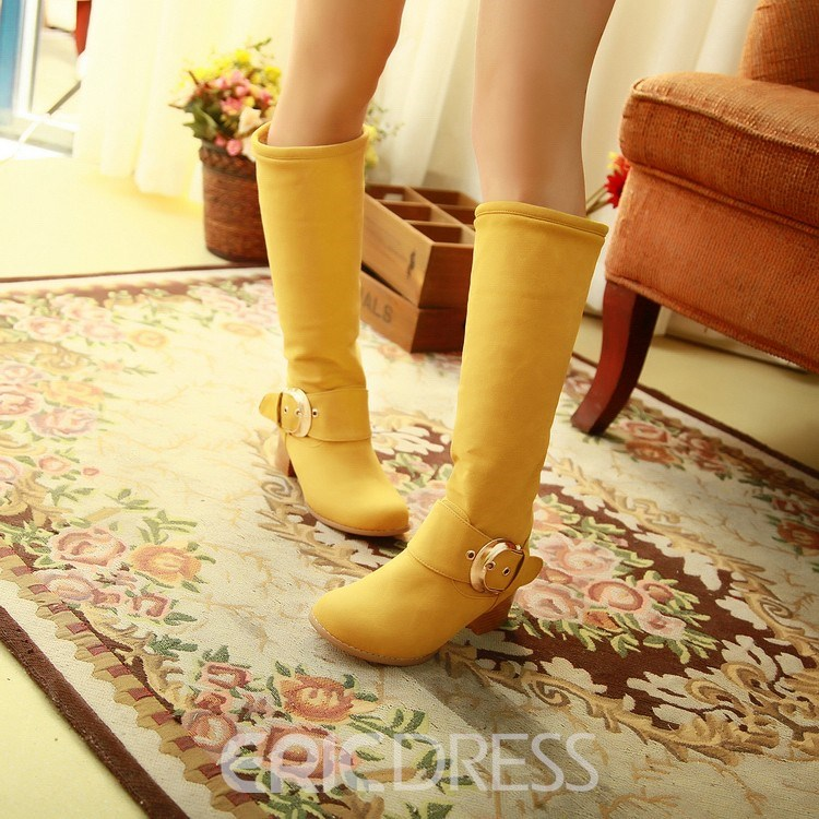Ericdress Korean Sweet Knee High Boots with Buckles
