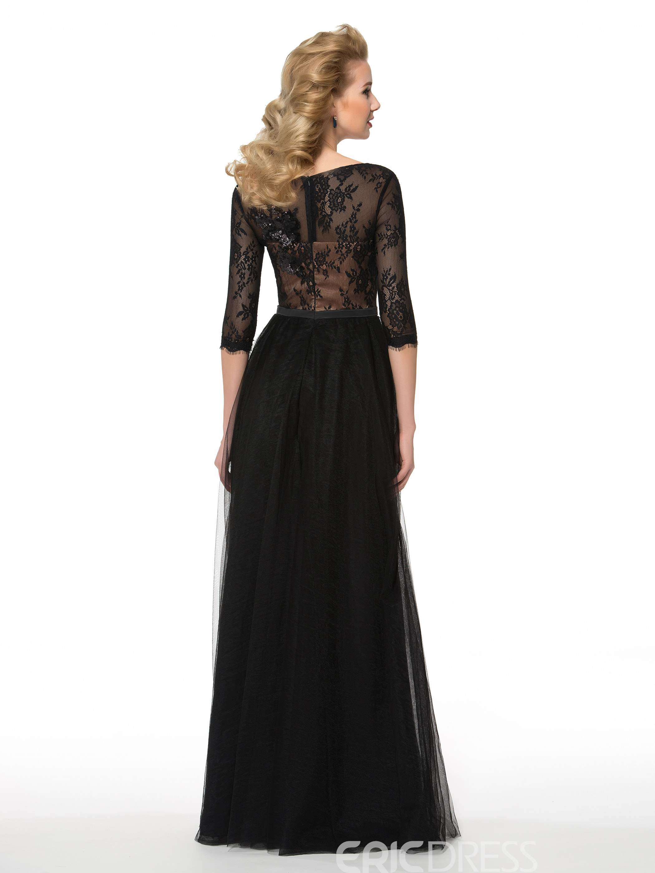 Ericdress Elegant Half Sleeves A Line Long Mother of the Bride Dress