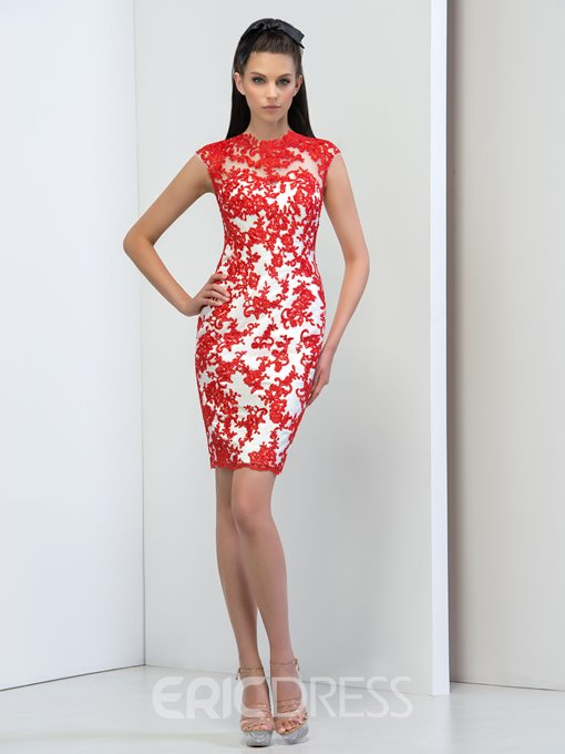 Ericdress Jewel Neck Sheath Appliques Button Cocktail Dress