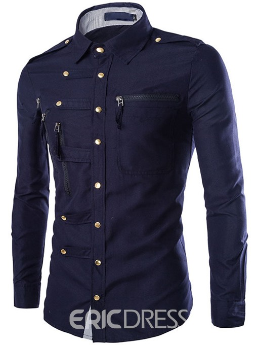 Ericdress Unique Zip Design Men's Shirt