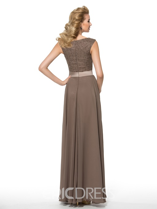 Ericdress Fashionable Bateau Beading Split Front A Line Mother of the Bride Dress
