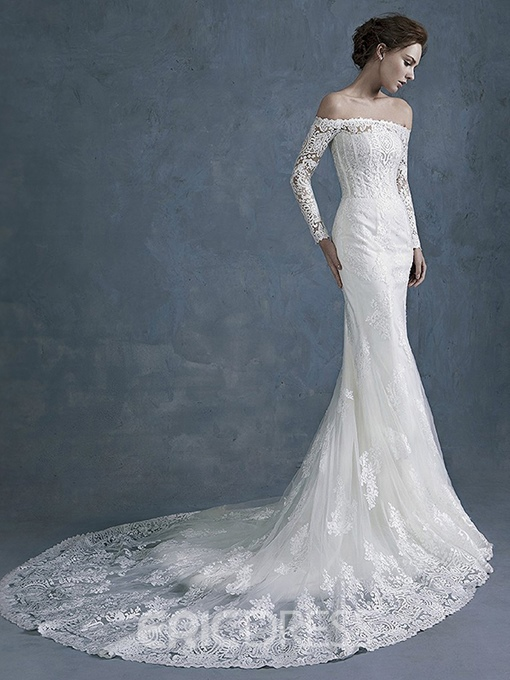 Ericdress Off the Shoulder Lace Mermaid Wedding Dress