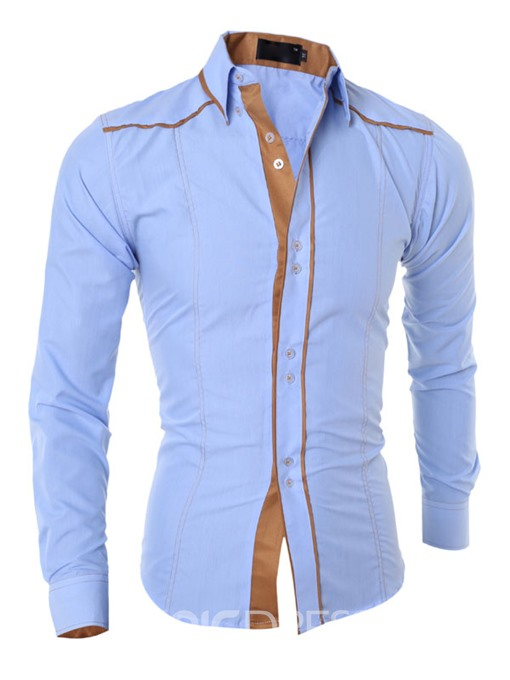 Ericdress Color Block Slim Unique Men's Shirt