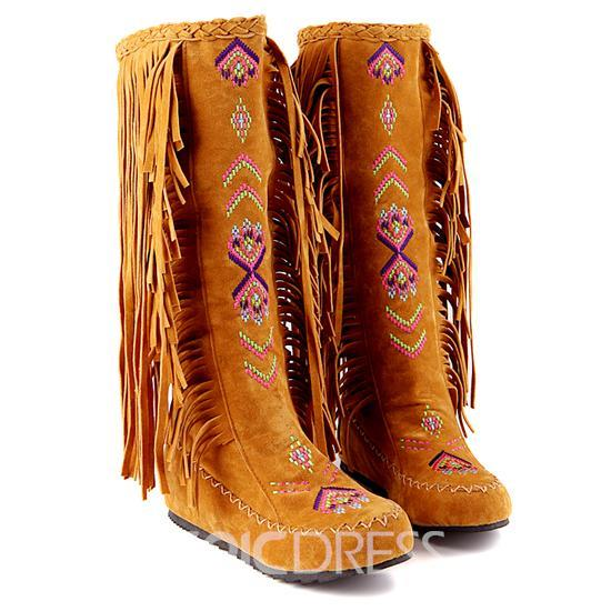 Ericdress Ethnic Knee High Boots with Tassels