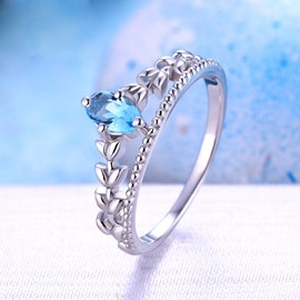 Elegant Sapphire Decorated Crown Shaped Silver Ring