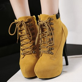 Ericdress European All Matched Lace-up High Heel Boots