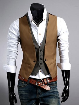 Ericdress Patchwork Double-Layer Men's Vest