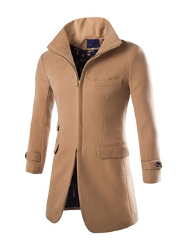 Ericdress Solid Color Slim Zip Men's Wool Coat