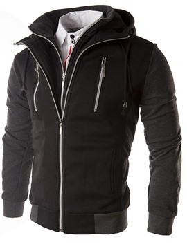 Ericdress Zip-Front Double-Layer Men's Hoodie