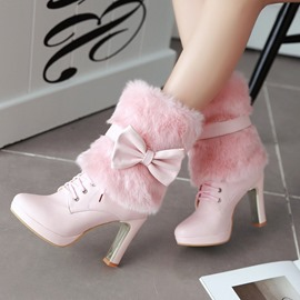 Ericdress Preppy Style High Heel Boots with Bowtie