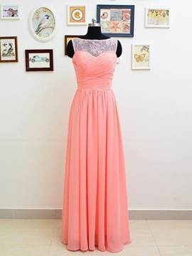 Ericdress Pretty Bateau A Line Lace Long Bridesmaid Dress