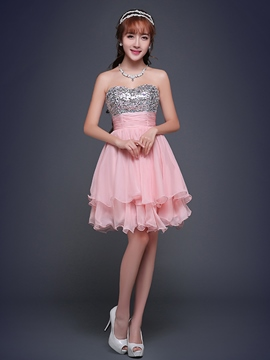Ericdress a-Linie trägerlosen Pailletten Mini Homecoming Kleid