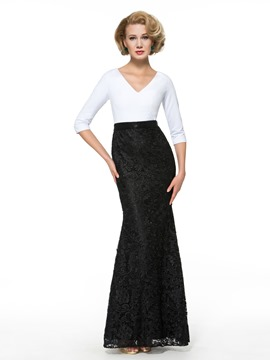 Ericdress Fancy V Neck Half Sleeves Mermaid Lace Mother of the Bride Dress