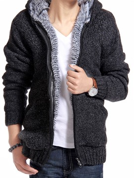 Ericdress Plain Flocking Zip Men's Sweater Coat