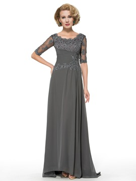 Ericdress elegante Scoop halbe Ärmel Applikationen Long Mutter der Brautkleid