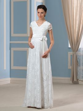 Ericdress Casual Short Sleeves Lace Maternity Wedding Dress