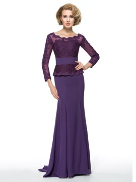 Ericdress Elegant Scoop Long Sleeves Mother of the Bride Dress