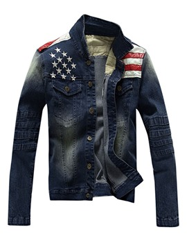 Ericdress Patchwork Gradient Denim Men's Jacket