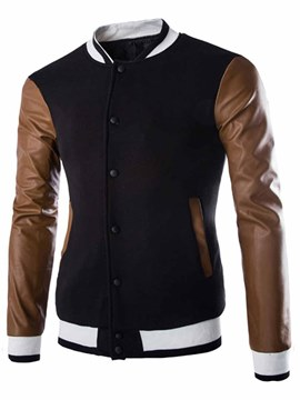 Ericdress Single-Breasted PU Patchwork Men's Hoodie